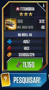 Jurassic World Titanoboa Stats Screen Capture